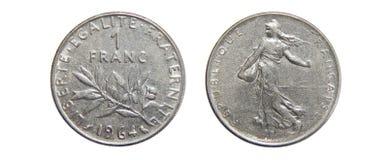 Moneta Francja 1 frank 1964 obrazy stock