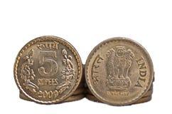 Moneta indiana del primo piano isolata sullo spazio bianco della copia Immagine Stock Libera da Diritti