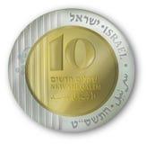 Moneta israeliana di valuta Fotografia Stock