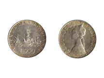 Moneta italiana posteriore della parte anteriore Fotografia Stock Libera da Diritti