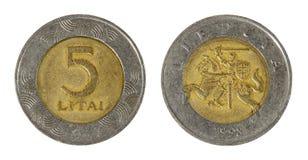 Moneta Lituania illuminata Immagini Stock