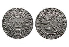 Moneta medioevale di anni di Praga groschen-700 della moneta Fotografie Stock Libere da Diritti