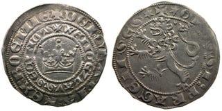 Moneta medioevale di anni di Praga groschen-700 della moneta Immagini Stock
