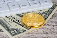 Moneta metallica del bitcoin dorato, banconote del dollaro Fotografie Stock Libere da Diritti