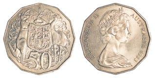 Moneta mezza del dollaro australiano Fotografia Stock