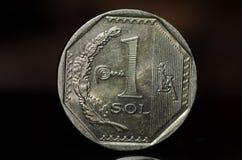 1 moneta peruviana del solenoide di nuevo Immagine Stock