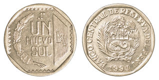 1 moneta peruviana del solenoide di nuevo Fotografie Stock