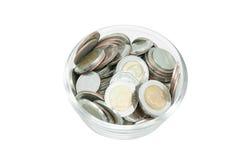 Moneta pieniądze w szklanym słoju obraz royalty free