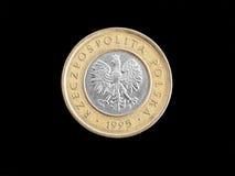 Moneta polacca di Zloty Fotografia Stock