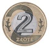 Moneta polacca di zloty 2 Fotografie Stock Libere da Diritti