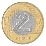 Moneta polacca di zloty 2 Fotografia Stock Libera da Diritti