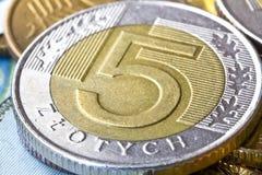 Moneta polacca di zloty cinque Fotografia Stock Libera da Diritti