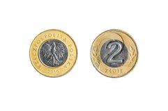 Moneta polacca di zloty due isolata Fotografia Stock Libera da Diritti