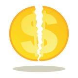 Moneta rotta del dollaro illustrazione di stock
