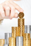 Moneta sulla parte superiore della pila Immagine Stock Libera da Diritti