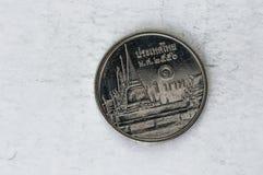 1 moneta tailandese di baht di Satang con re Bhumibol Adulyadej Fotografia Stock Libera da Diritti