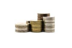 Moneta tailandese di valuta del bagno su fondo bianco Fotografia Stock Libera da Diritti