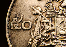 Moneta Tajlandia, makro- Zdjęcia Royalty Free