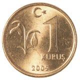 1 moneta turca di kurus Fotografie Stock Libere da Diritti