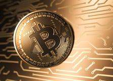 Moneta virtuale Bitcoin e circuito stampato illustrazione vettoriale