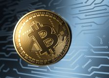 Moneta virtuale Bitcoin e circuito stampato del blu illustrazione di stock