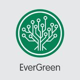 Moneta virtuale di valuta di Evergreencoin Icona di web di vettore di EGC Fotografia Stock