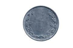 Moneta vuota con il monogramma delle foglie per i progettisti immagine stock libera da diritti