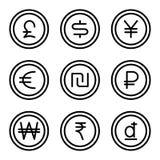 Moneta z pieniądze znakiem ustawia 2 ilustracja wektor