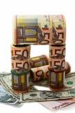 Monetaire benamingen van verschillend voordeel Stock Foto's