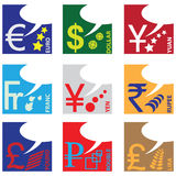 Monetaire symbolen Stock Afbeelding