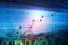 Monetarny pojęcie i targowy analizuje wykres obraz stock