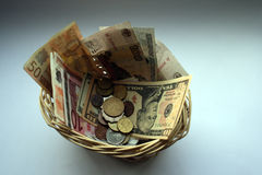 Monetary basket Royalty Free Stock Image