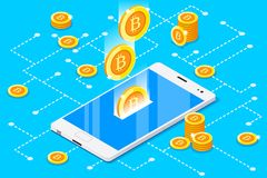 Monetary Business with Bitcoin Crypto Currencies Virtual Coin. Monetary business with bitcoin currency. Smartphone with gold rain of bitcoins. 3D vector design Stock Photo
