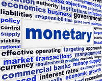 Monetary business words poster. Financial regulation creative conceptual design Stock Photo