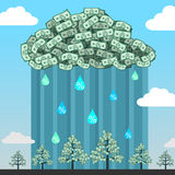 Monetary cloud in sky. Royalty Free Stock Image