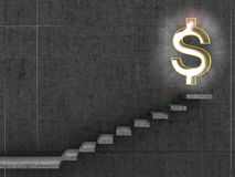 Monetary concept. Staircase that leads to the doorway in the form of a dollar sign.3d illustration Stock Images