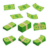 Monetary denomination, different stacks of money. Dollars isolated on white. Vector illustrations set Stock Photo