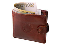 Monetary denominations in a purse. On a white background Stock Photography