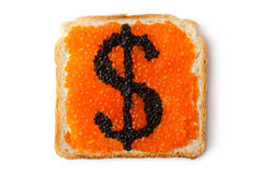 Monetary dollar sandwich with caviar. Placed on white background Stock Photography