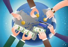 Monetary economic management distribution. Different hand giving money on fiscal monetary economic management distribution theme on planet background Stock Image