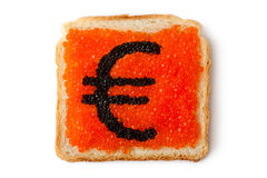 Monetary Euro sandwich with caviar. Placed on white background Stock Photos