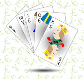 Monetary and Financial poker straight Stock Photo