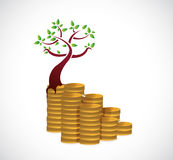 Monetary growth concept tree illustration design Stock Images