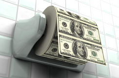 Monetary Inflation. Roll of $100 bills on a toilet paper spindle vector illustration