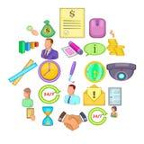 Monetary influence icons set, cartoon style. Monetary influence icons set. Cartoon set of 25 monetary influence vector icons for web isolated on white background Stock Photos