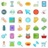 Monetary injection icons set, cartoon style. Monetary injection icons set. Cartoon set of 36 monetary injection vector icons for web isolated on white background Royalty Free Stock Photography