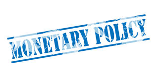 Monetary policy blue stamp Royalty Free Stock Image