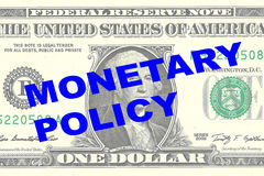 Monetary Policy concept. Render illustration of MONETARY POLICY title on One Dollar bill as a background Stock Photo