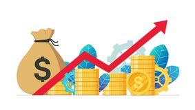 Monetary profit and growing red graph up. Economic growth, income from investments. Сoncept of business success Royalty Free Stock Photography