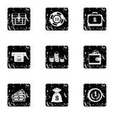 Monetary resource icons set, grunge style Royalty Free Stock Image